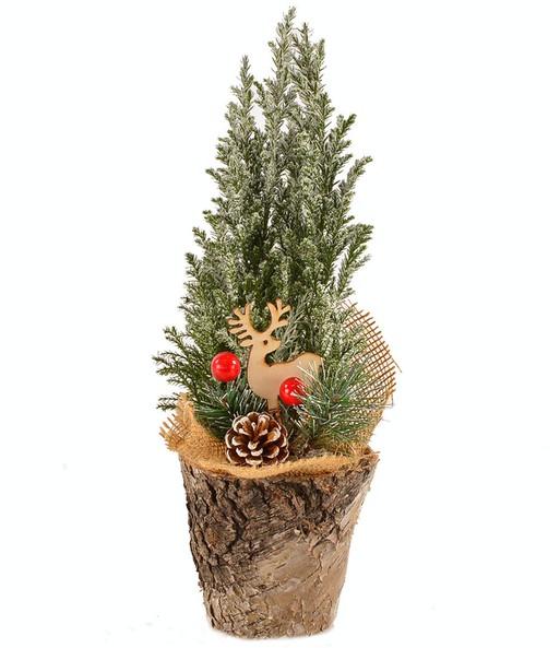 Weihnachtsbaum Dekorieren.Mini Weihnachtsbaum Dekoriert Im Holztopf